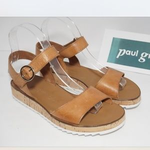 Paul Green Women's Tan Brown Leather Sandals US 7